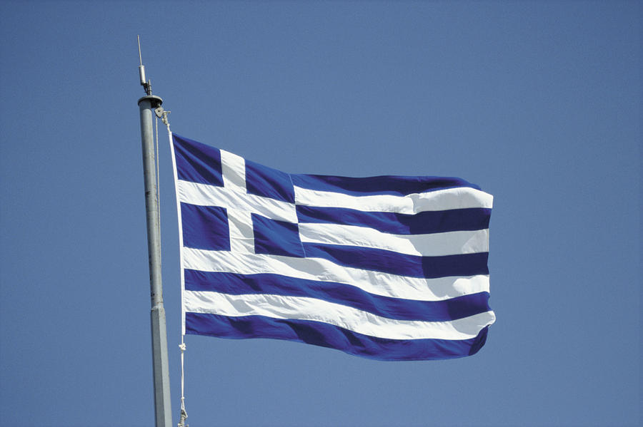 Greek flag Photograph by Image Source