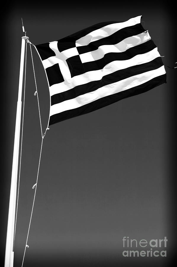 Greek Flag Photograph - Greek Flag by John Rizzuto