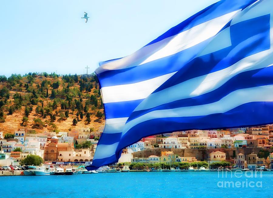 Greek Flag Digital Art