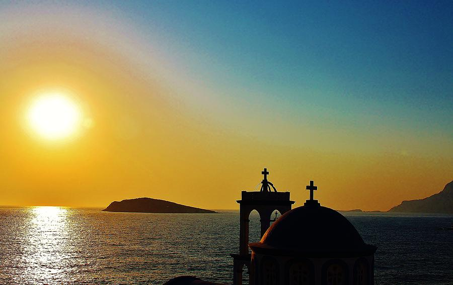 Sunset Photograph - Greek Glow by Catherine Davies