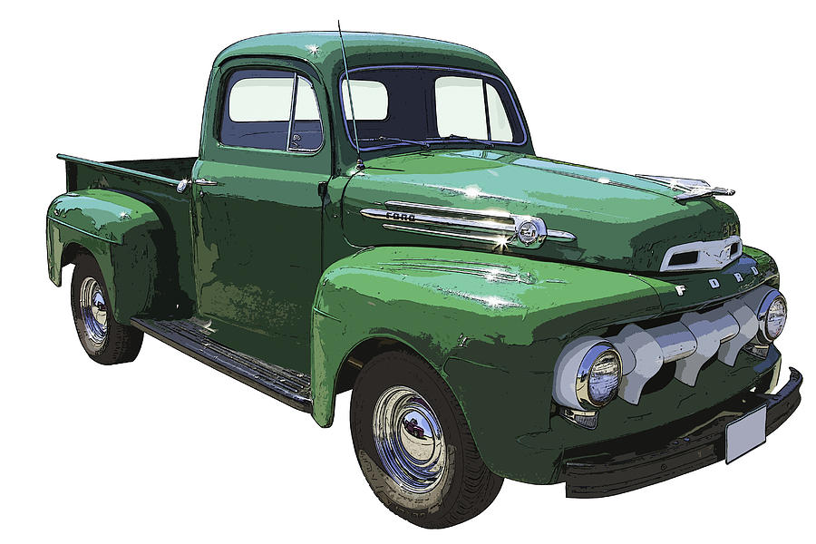 Pickup Truck Photograph - Green 1951 Ford F-1 Pick Up Truck Illustration  by Keith Webber Jr