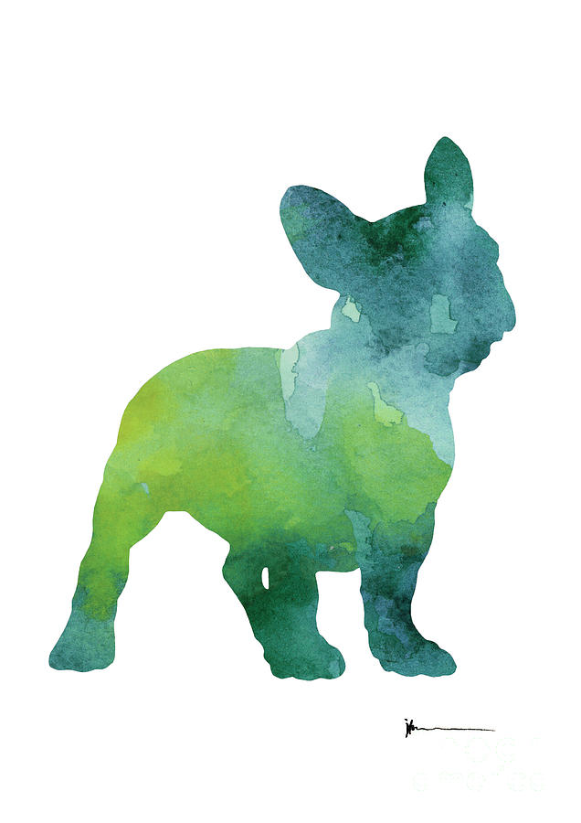 French Bulldog Painting - Green And Blue Abstract French Bulldog Watercolor Painting by Joanna Szmerdt