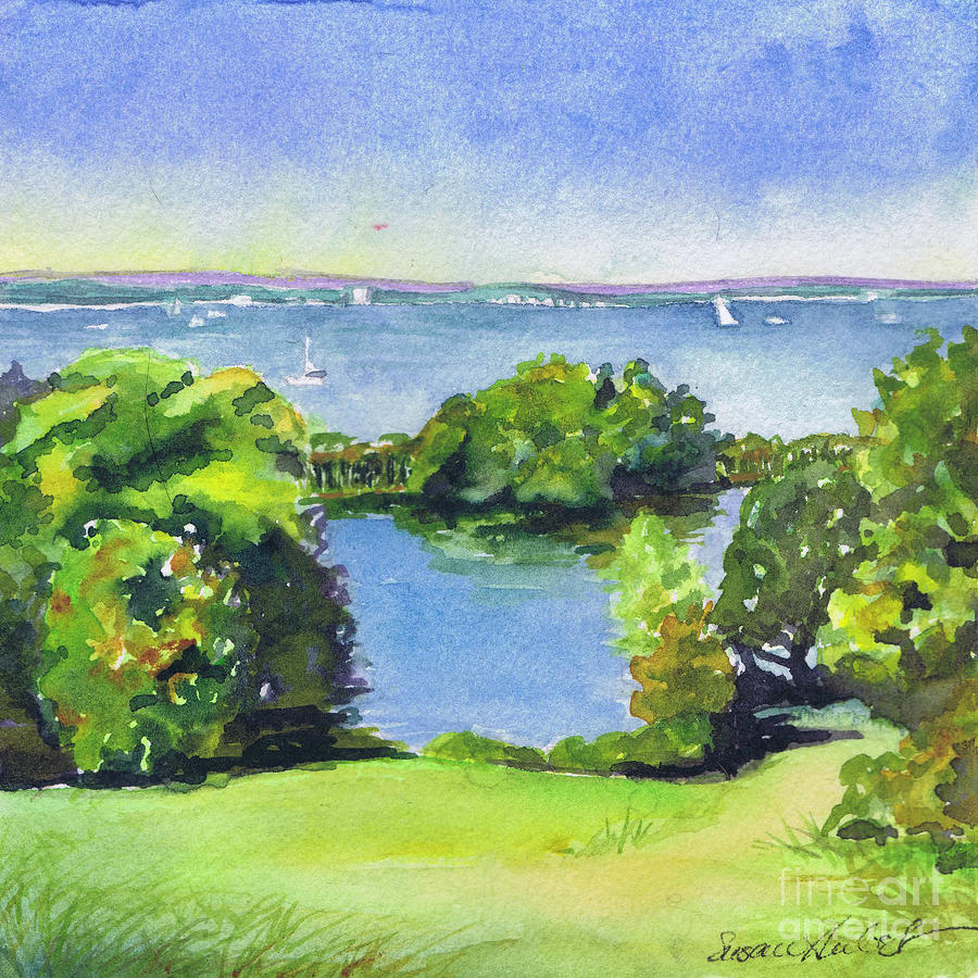 Landscape Painting - Green And Blue Caumsett by Susan Herbst