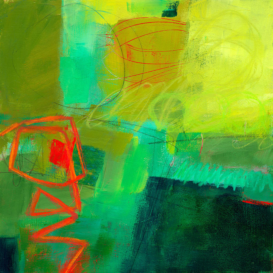 Color Painting - Green And Red #1 by Jane Davies