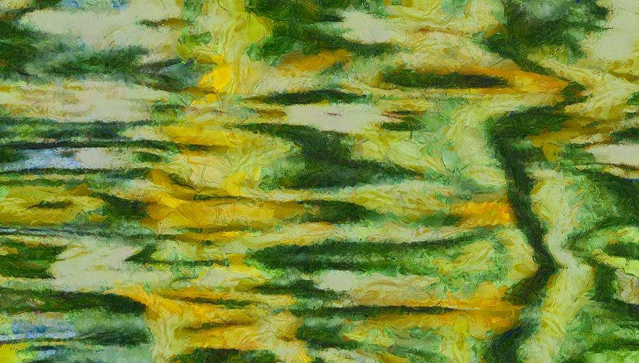 Green Painting - Green And Yellow Abstract by Dan Sproul