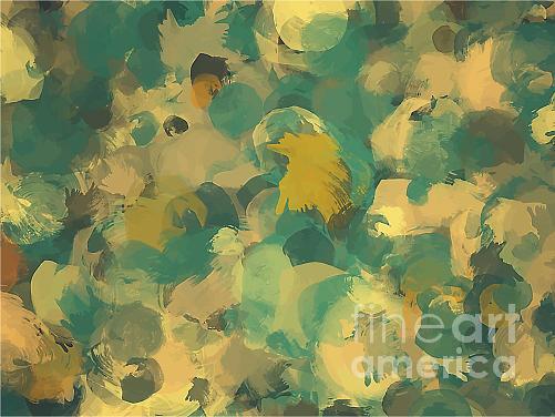 Drop Digital Art - Green And Yellow Round Brush Strokes by Shekaka