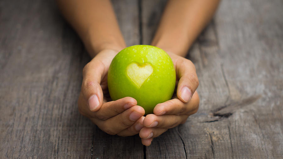 Apple Photograph - Green Apple With Engraved Heart by Aged Pixel