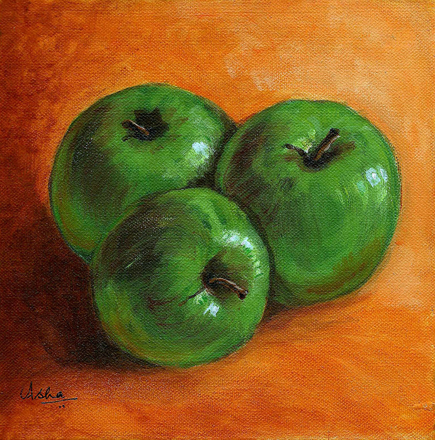 Apples Painting - Green Apples by Asha Sudhaker Shenoy