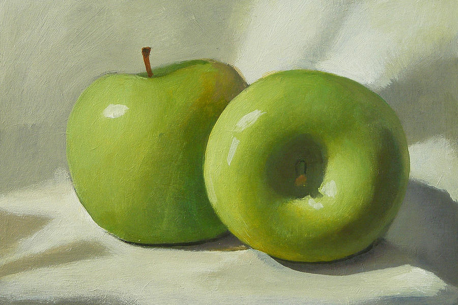 Green Painting - Green Apples by Peter Orrock