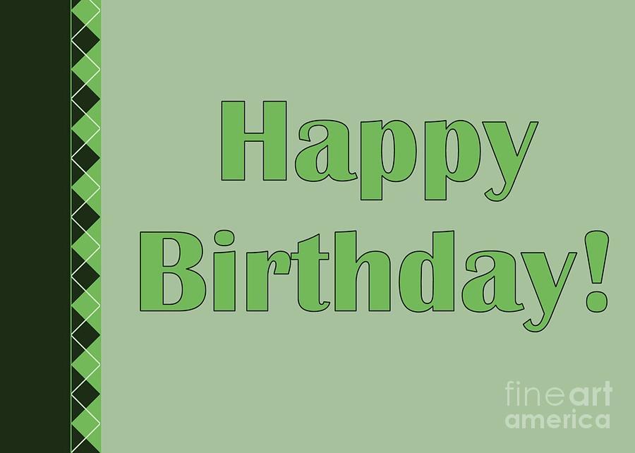 Green Digital Art - Green Argyle Birthday by JH Designs