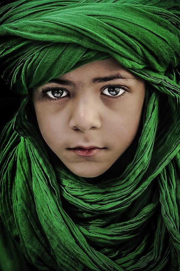Veil Photograph - Green Boy by Saeed Dhahi