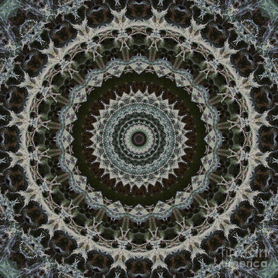Mandala Digital Art - Green Brown Mandala by Kathi Shotwell
