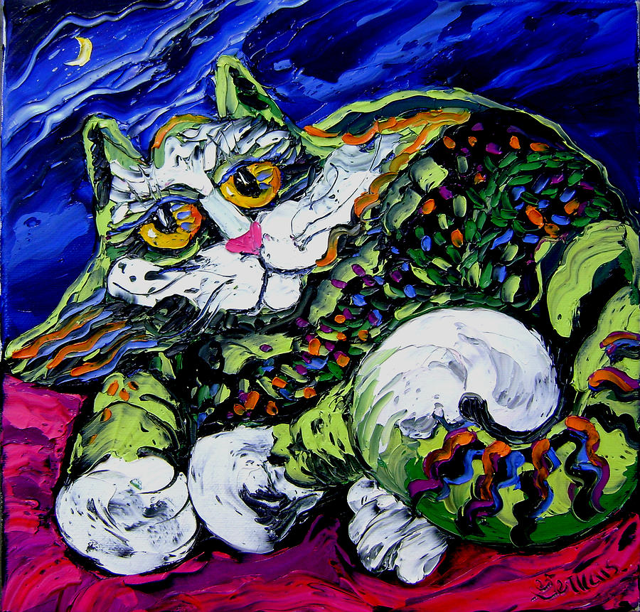 Isabelle Painting - Green Cat by Isabelle Gervais