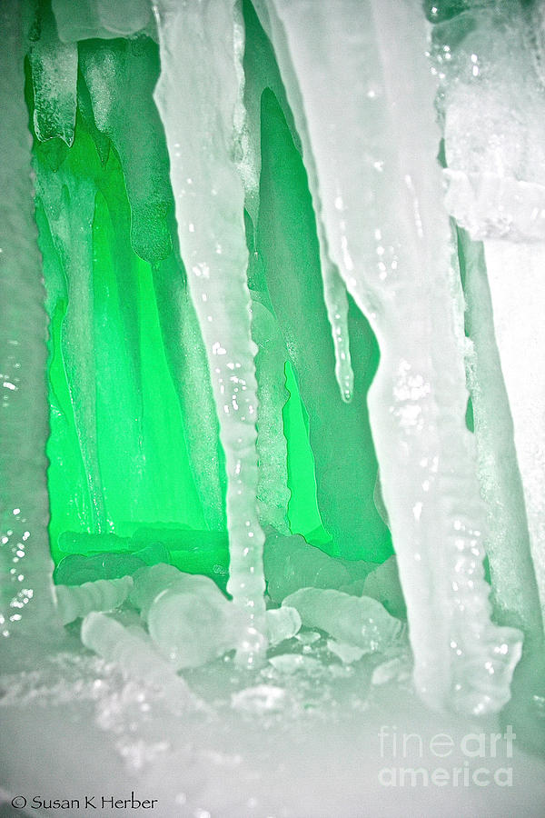 Ice Photograph - Green Cave by Susan Herber