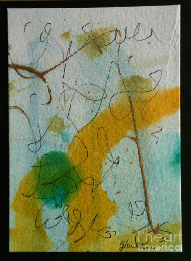 Inks Painting - Green Circle Abstract by Gloria Cooper