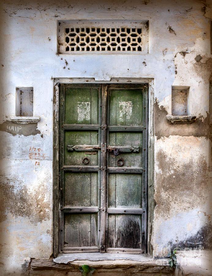 India Photograph - Green Door by Catherine Arnas