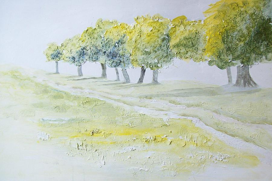 Landscape Painting - Green Double Path by Mary Adam