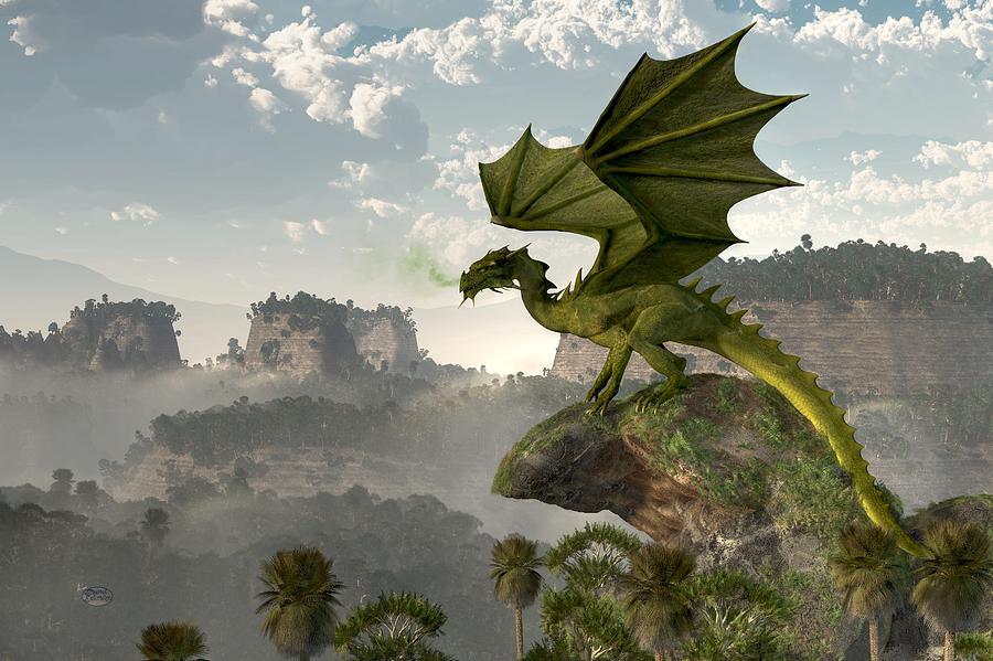 Green Dragon Digital Art - Green Dragon by Daniel Eskridge