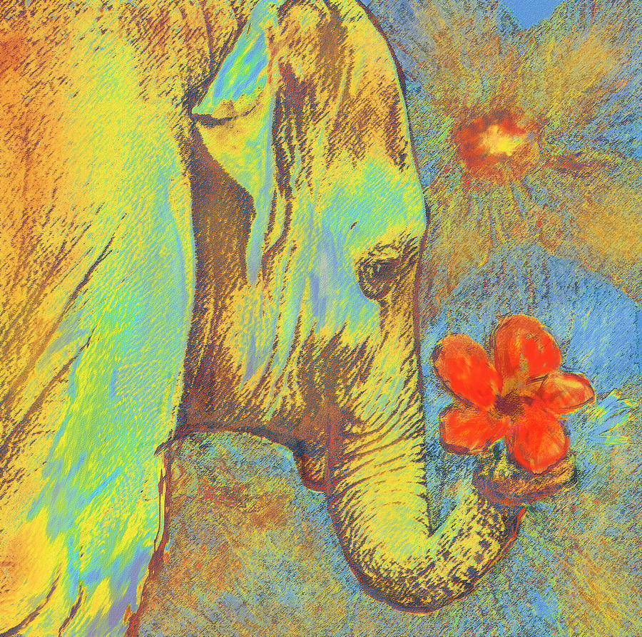 Elephant Digital Art - Green Elephant by Jane Schnetlage