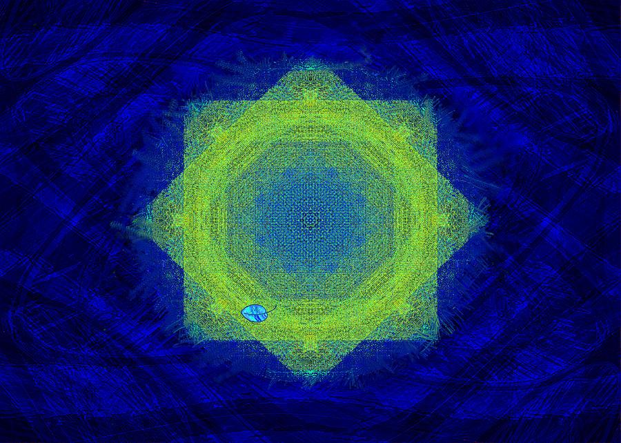 Mandala Digital Art - Green Eyed Weave by Mathilde Vhargon