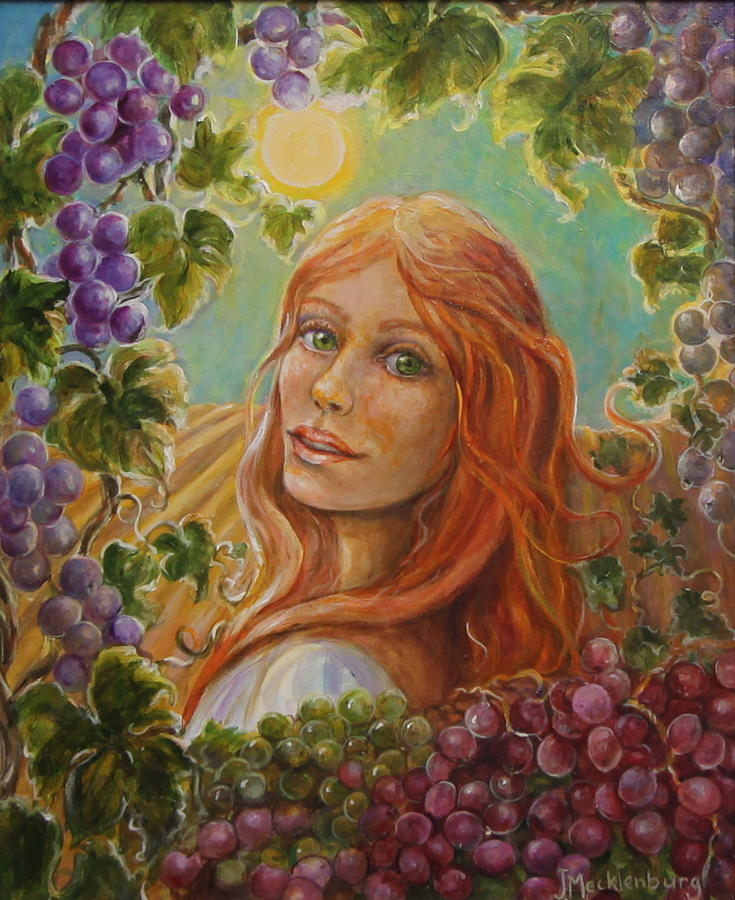 Red Grapes Painting - Green Eyes My Love by Jan Mecklenburg