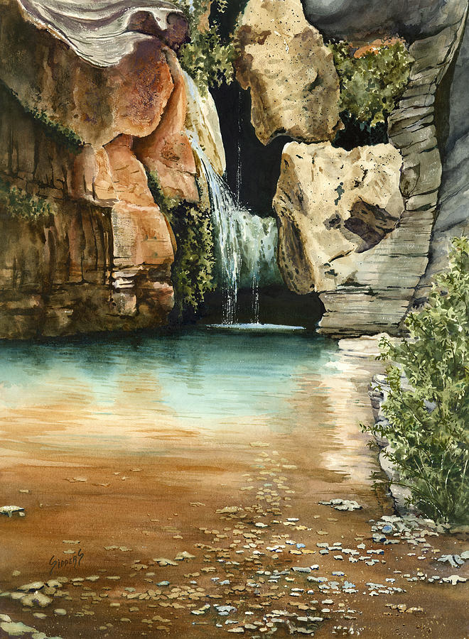 Waterfall Painting - Green Falls II by Sam Sidders
