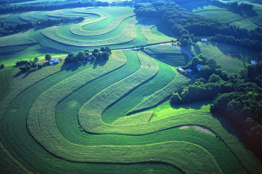 Pennsylvania Photograph - Green Farm Contours Aerial by Blair Seitz