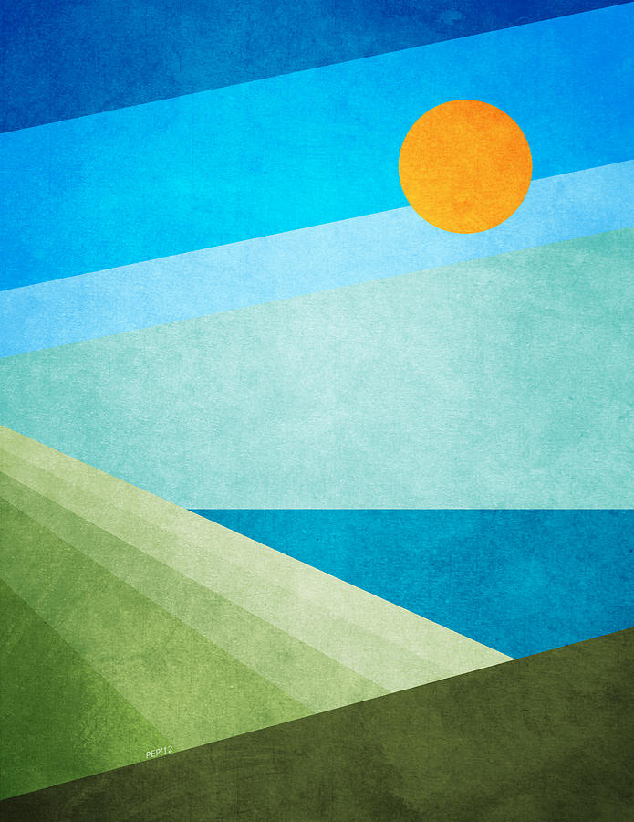 Graphic Design Digital Art - Green Fields Blue Waters by Phil Perkins