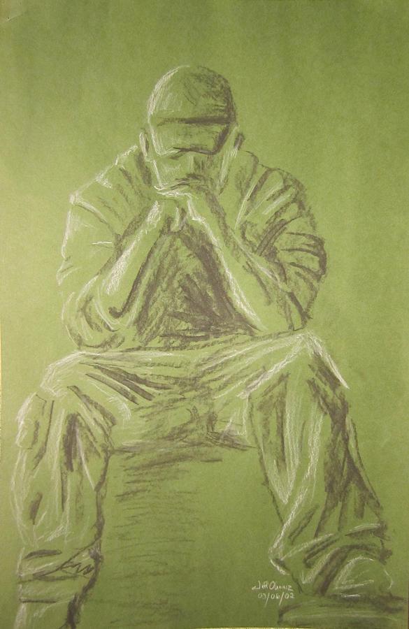 Figure Drawing - Green Figure I by Jeffrey Oleniacz