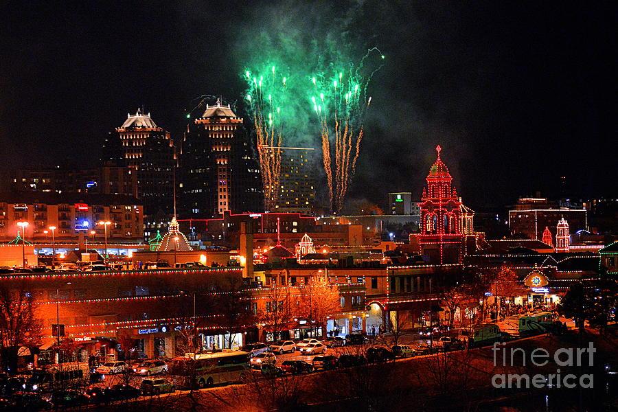 Plaza Lights Photograph   Green Fireworks Over The Kansas City Plaza Lights  By Catherine Sherman