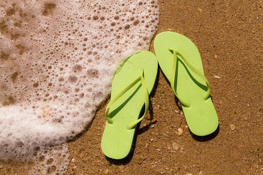 61ffe7170aa7 Green Flip Flops On The Beach Photograph by Teri Virbickis