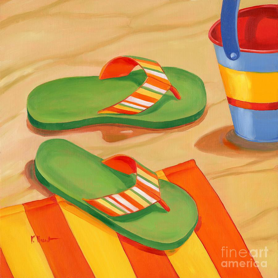 Green Flip Flops Painting By Paul Brent