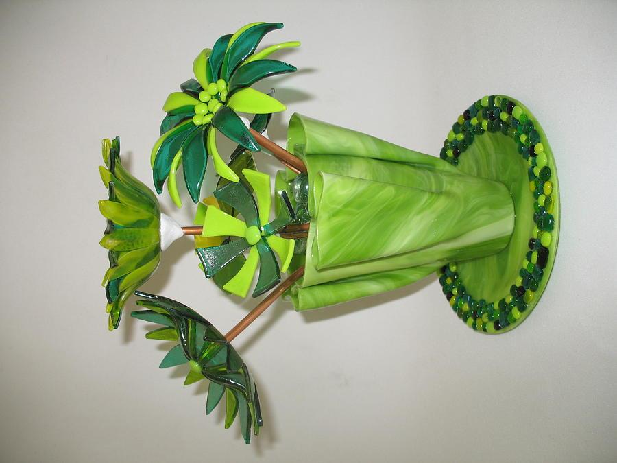 Fused Glass Art - Green Flowers by Steven Schramek
