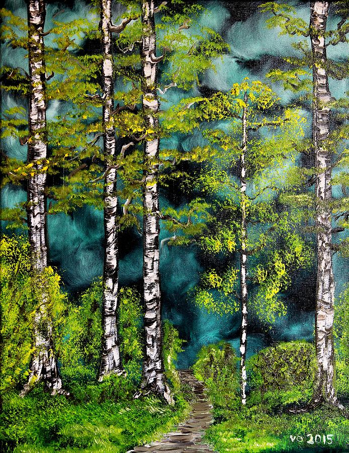 Forest Painting - Green Forest by Valerie Ornstein
