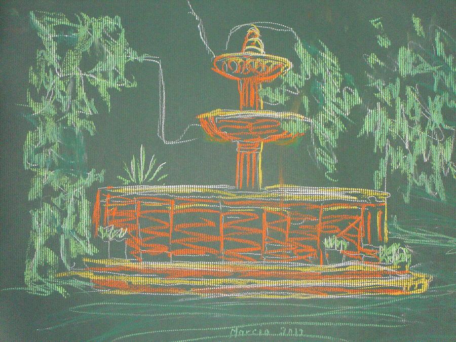 San Miguel De Allende Pastel - Green Fountain by Marcia Meade
