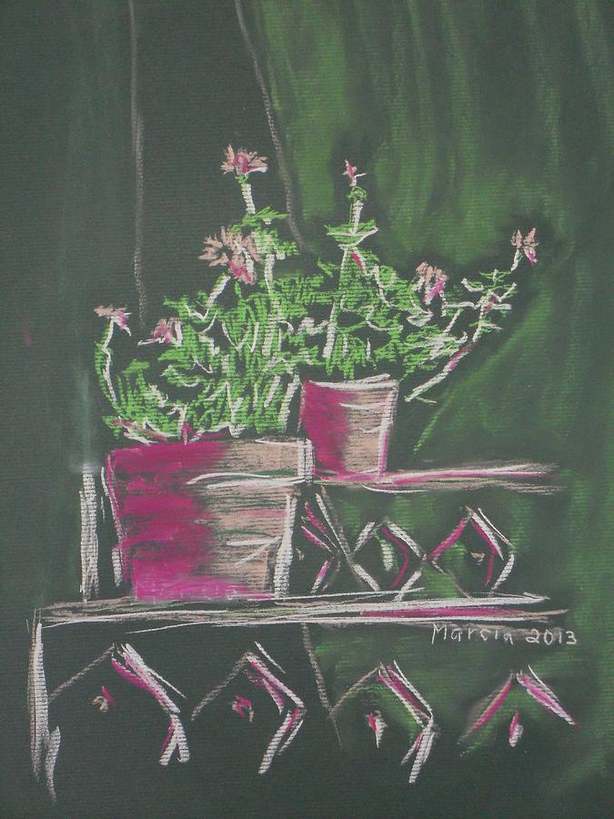 San Miguel De Allende Pastel - Green Geraniums by Marcia Meade