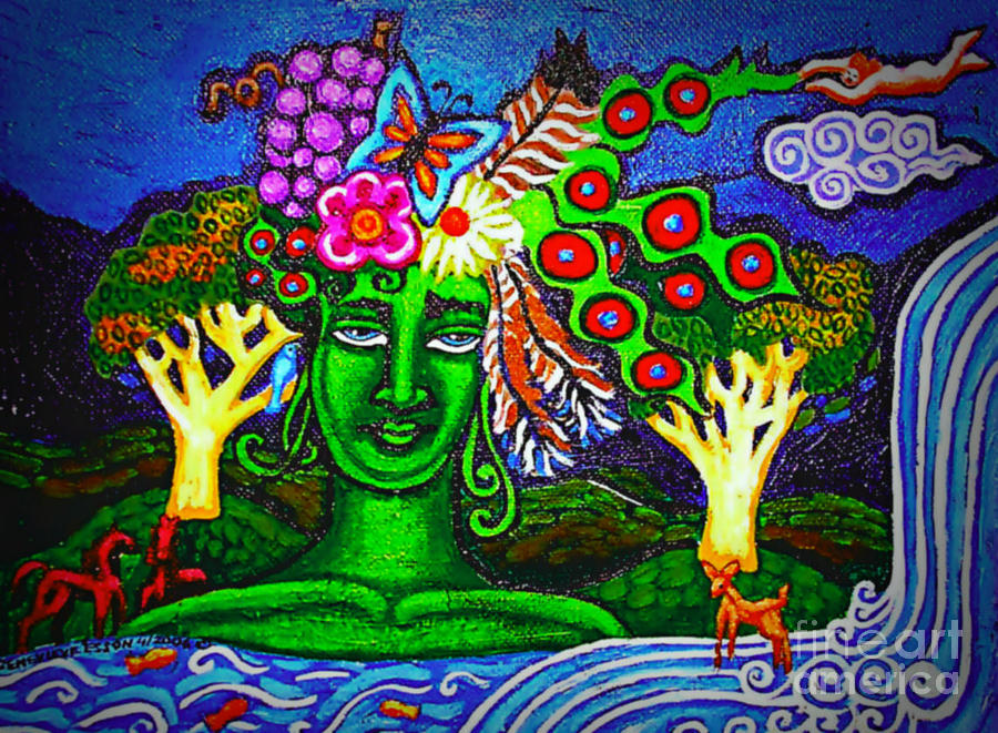 Green Goddess With Waterfall Painting