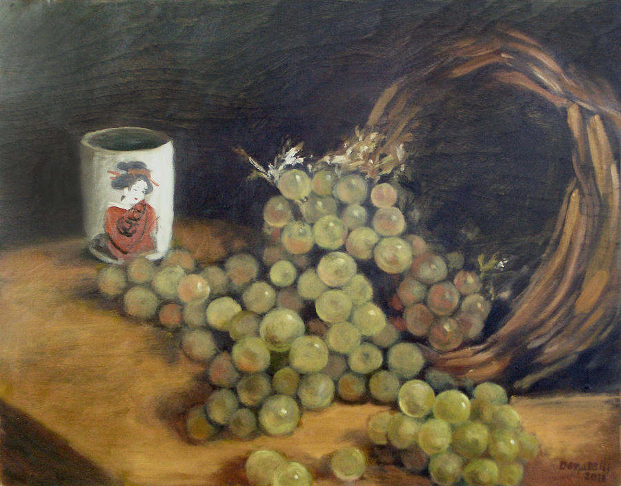 Green Grapes with Japanese Tea Cup by Kathryn Donatelli