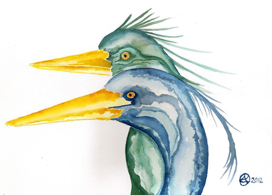 Blue Herons Painting - Green Herons by Alexandra  Sanders