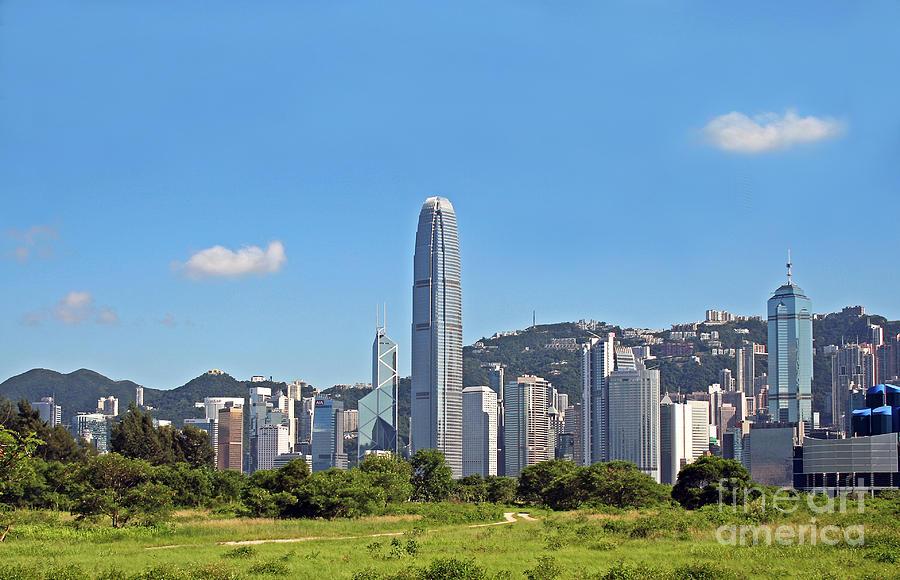 Hong Kong Photograph - Green Hong Kong Skyline by Lars Ruecker