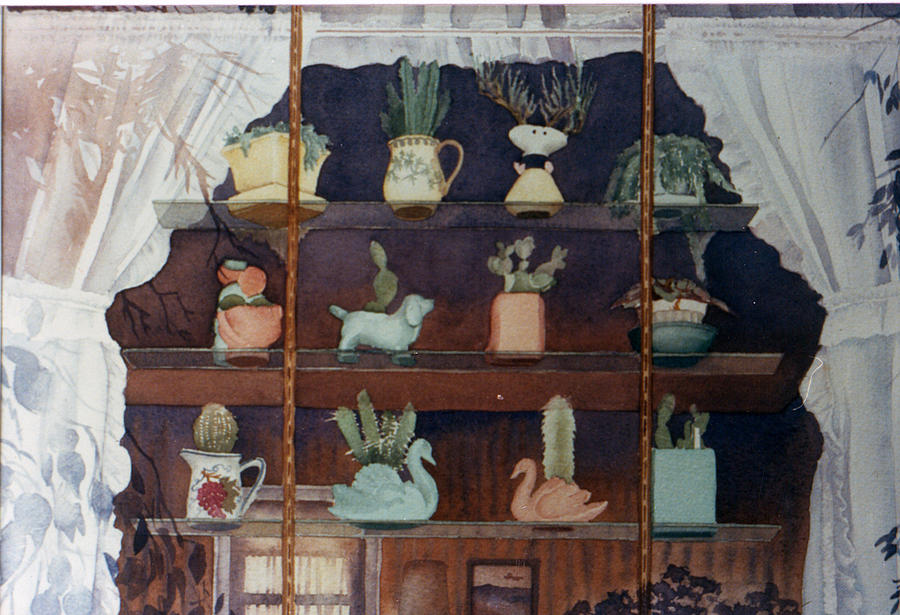 Window Painting - Green House Window by Mary Helmreich
