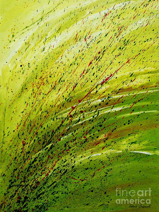 Meadow Painting - Green Landscape - Abstract Art  by Ismeta Gruenwald
