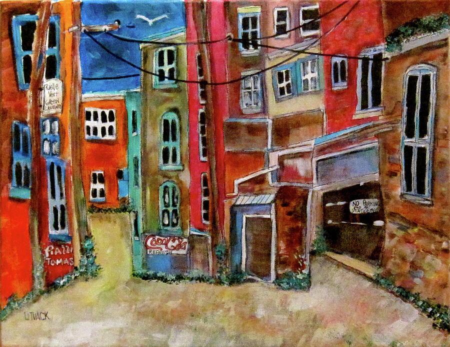 Laneway Painting - Green Laneway by Michael Litvack