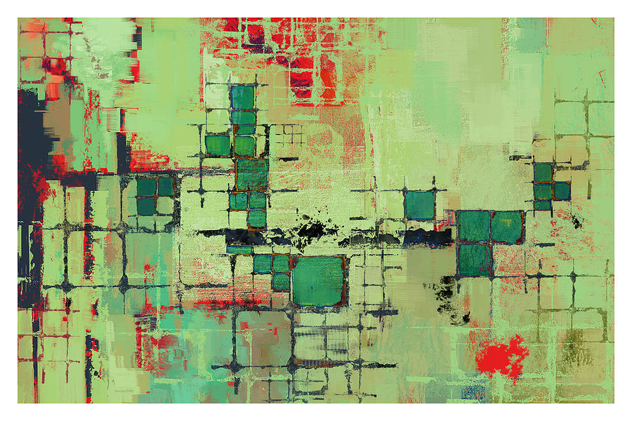 Abstract Painting - Green Lattice Abstract Art Print by Karyn Lewis Bonfiglio