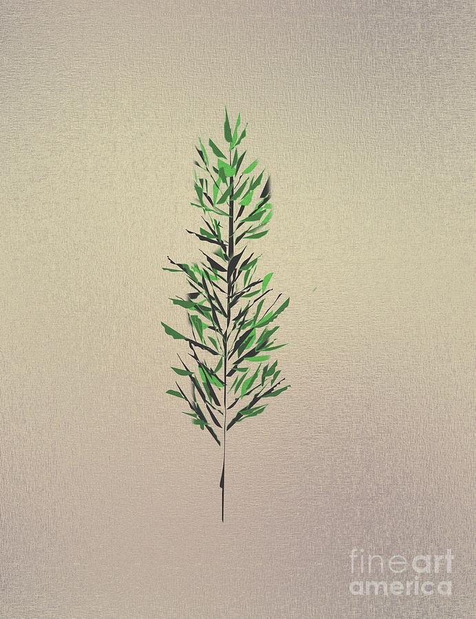 Abstract Drawing - Green Leaves by John Krakora