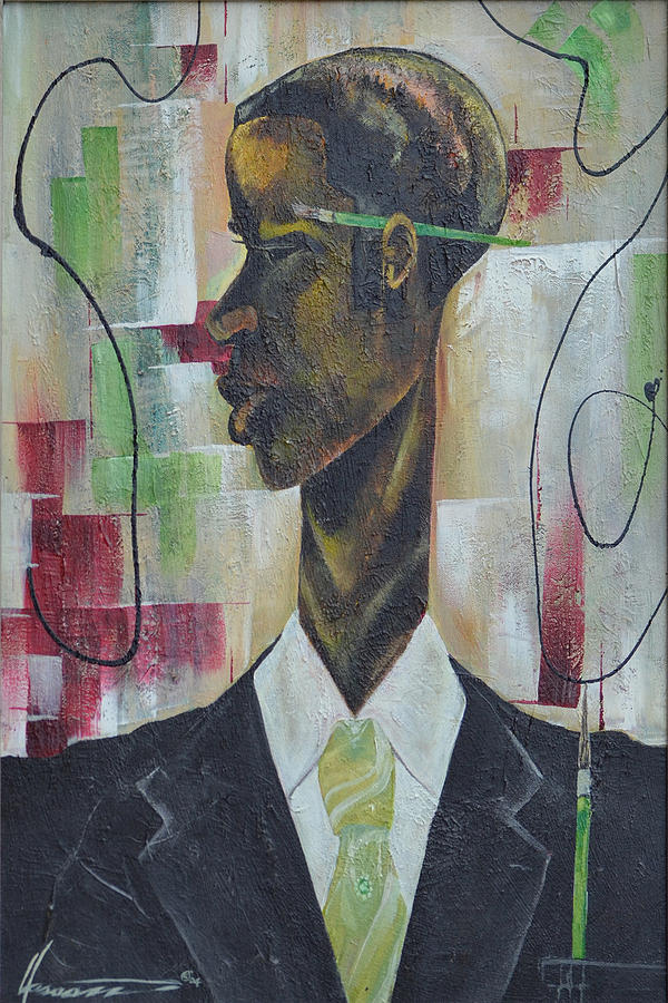 Green Painting - Green Light Green Stripe by Hasaan Kirkland
