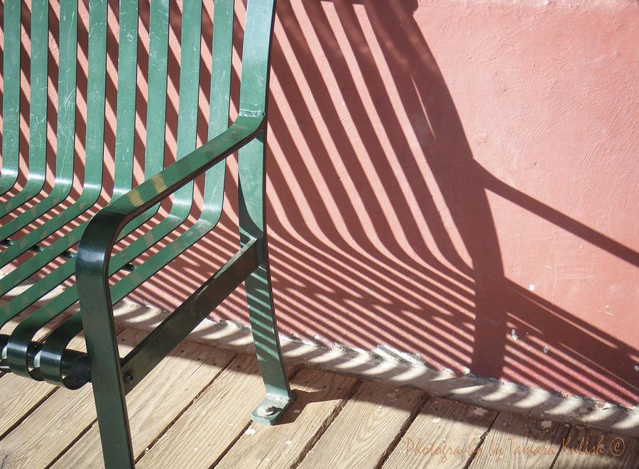 Arizona Photograph - Green Metal Bench with Shadow in Tombstone Arizona by Tamara Kulish