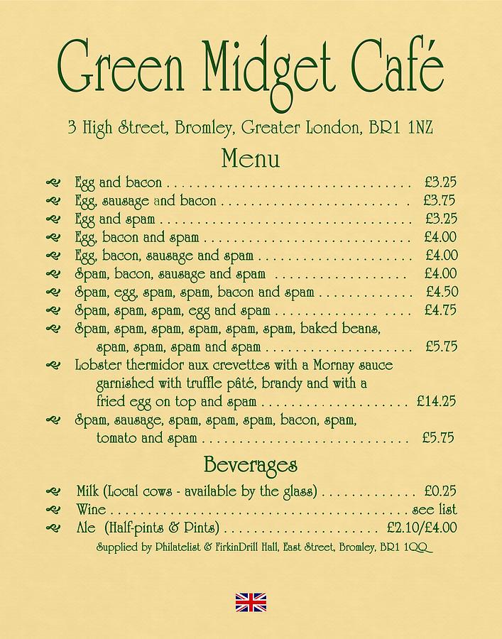 Green midget cafe menu parchment digital art by robert j sadler 1970s digital art green midget cafe menu parchment by robert j sadler bookmarktalkfo Images