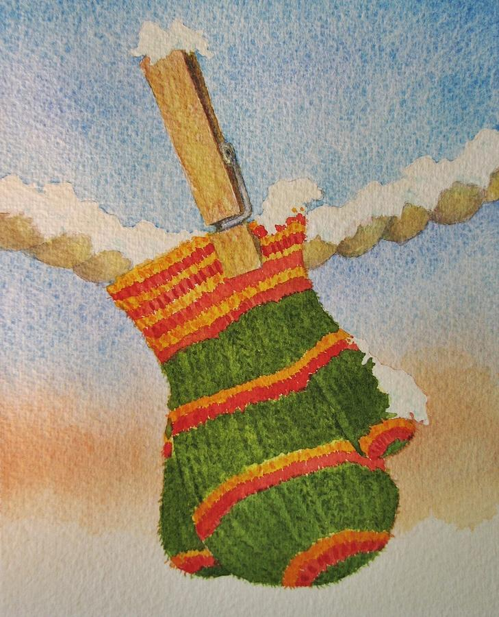 Children Painting - Green Mittens by Mary Ellen Mueller Legault