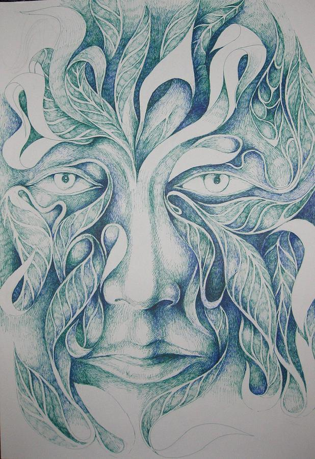 Green Drawing - Green by Moshfegh Rakhsha